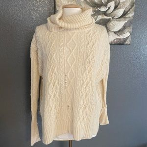 Free People Ivory Knit Oversized Cowl Neck Sweater
